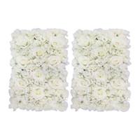 Wholesale hanging wall panels resale online - 2 Pieces Flower Walls Panels for Wedding Backdrop Floral Arrangement Props Home Hanging Decor White