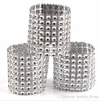 ingrosso anello di tovagliolo di diamanti di nozze-Portatovaglioli di diamanti per porta tovaglioli di nozze, strass, telai per sedie, banchetti, cena, decorazioni per la tavola di Natale, oro e argento 888