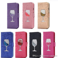 weinkoffer samsung großhandel-W flüssiger Sand Handyoberteil Mappen-Kasten-Kartenschlitz Wein-Glas-Telefon-Abdeckungs-Kästen für iPhone X 8 7 6 5 plus Samsung S5 6 7 8 9 plus note8