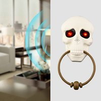 Wholesale light up eyes halloween resale online - Halloween Doorbell with Light up Eyes Sound and Talking Skull Doorbell for Party Halloween Decorations Dropshipping