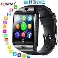 telefones inteligentes de tela grande venda por atacado-QUNIWO Bluetooth relógio inteligente Homens Q18 com tela de toque Suporte Big Sim Card TF bateria para câmera Android Phone Passometer