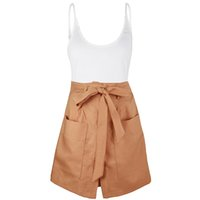 шорты с высокой талией оптовых-Women Casual Fashion Sleeveless Two-piece Set Holiday Solid Summer Polyester High Waist Vest+Wide-leg Shorts Daily Party