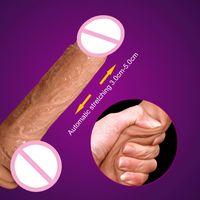 ingrosso cazzo grande per la donna-Nuovo dildo telescopico automatico del dildo realistico della ventosa Sensibilità della pelle Pene realistico giocattoli del sesso del grande cazzo vibratori per le donne