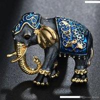 mini elefantes azuis venda por atacado-Moda Pop gota azul retro Oil Esmalte Mini elefante pequeno broche roupas jóias broche Acessórios 4 opções de cores