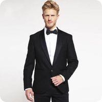 i̇talyan groomsmen smokin toptan satış-İtalyan Erkekler Siyah Damat Düğün Smokin Groomsmen Blazer Şal Yaka Kostüm Homme 2 Adet Slim Fit Terno Masculino Trajes de hombre