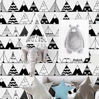 Wholesale triangle bedding resale online - Concise style Black and white triangle geometric wallpaper student dormitory bed desk background decoration home decor wallpaper