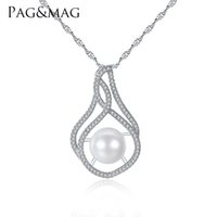 Wholesale PAG MAG Brand Luxury Pearl Pendant Necklace S925 Silver Wave Chain Women Necklace for Women Gift Box for Free Factory