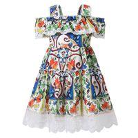 ingrosso abbigliamento in stile bohemien per bambini-Bongawan Girls Dress Sling Shoulder Ball Gown Bohemian Style Abbigliamento per bambini Geometric Pattern Cotton Girl Clothes 3-10 anni Y19061501