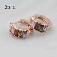 Wholesale zircon copper hoop earrings for sale - Irina Rose Gold Color Multicolor Hoop Earrings For Women with Colorful Zircon Crystal Wedding Jewelry Statement Earrings