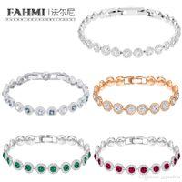 pulseiras de ouro para namorada venda por atacado-FAHMI SWA produtos de alta qualidade Rose Gold Cristal Personalidade pulseira Buckle Mulheres Moda presente namorada Jóias Acessórios