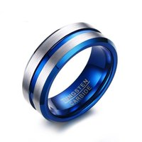 Wholesale tungsten ring brushed for sale - Group buy Men s Polished Grooved Tungsten Carbide Rings mm Blue Brushed Hammered Wedding Bands Step Edge RING SIZE