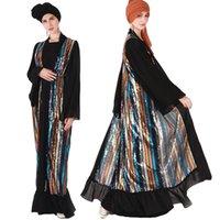 dubai islami elbise toptan satış-Abaya Müslüman Kadınlar Sequnis Uzun Elbise Glitter Açık Ön Hırka İslam Gevşek Maxi Elbise Kimono Kaftan Dubai Parti Kokteyl Yeni