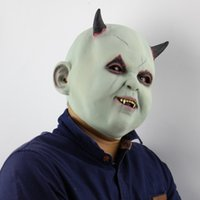 Wholesale doll mask cosplay resale online - Halloween Party Supplies Highly Imitated Round Face Ghost Doll Mask Masquerade Cosplay Bar Costume Adult Size High Quality