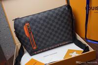 nomes de negócios de sacos venda por atacado-Mais novo estilo Homens Moda Couro bolsa de ombro Nome Saco Bolsas de Ombro Corpo Cruz para homens bolsa de negócios 45416