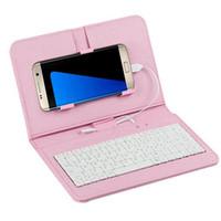 otg klavyesi toptan satış-Taşınabilir Genel Kablolu Flip-kapak Telefon Klavye Ev, Ofis, Mikro USB Android OTG Telefon Için Seyahat Kılıf