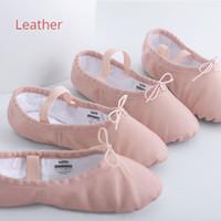 lenços de seda de corante venda por atacado-Sapatos de ballet de couro genuíno para meninas crianças dança de salão profissional macio sapatos baixos crianças de pele de carneiro sneaker