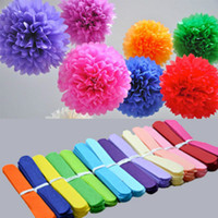 Wholesale tissue paper flowers garland for sale - Group buy Holiday Supplies inch cm Fluffy Tissue Paper Pom Poms Hanging Rose Flower Balls Garlands Wedding Baby Shower Party Decoration