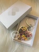 anéis indianos par venda por atacado-Fechadura da chave do carro de metal criativo nove-cor grande amor chaveiro fecho pingente cadeia