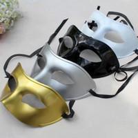 Wholesale white plastic half face masks resale online - Men s Masquerade Mask Fancy Dress Venetian Masks Masquerade Masks Plastic Half Face Mask Optional Multi color LX7812