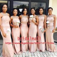 vestido dama honour toptan satış-Pembe Saten Kılıf Gelinlik Modelleri Ucuz 2k19 Dantel Üst Hizmetçi Onur Elbise Düğün Törenlerinde Vestido de la dama de onur