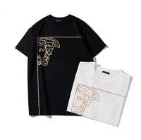 xxl damgası toptan satış-İtalyan tasarımcı marka 2019 yarım yüz sıcak damgalama kafa baskı t-shirt siyah ve beyaz S-XXL