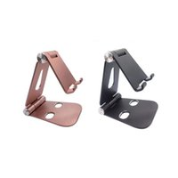 Wholesale tablet double online – Top Hot Z6 Mobile Phone Foldable Tablet Desk Holder Aluminum Metal for Iphone Samsung With Double Bottom Holes Desgin for Charge Top Quality