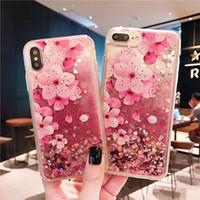 цветок блестит оптовых-Для Samsung S10 S10 Plus S10E Зыбучие пески Case Роскошный жидкий блестящий Bling Цветочный чехол для Iphone XS Max XR Блеск чехол