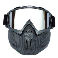 männer gesicht maske winter großhandel-Männer Frauen Ski Snowboard Schneemobil Brille Schnee Winter Winddicht Skibrille Motocross Sonnenbrille mit Gesichtsmaske