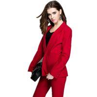 usar pantalones rojos al por mayor-Trajes de negocios para mujer de color rojo Uniforme de oficina Vestido de noche para mujer Ropa de trabajo Conjuntos de 2 piezas Blazer para mujer Traje de pantalón