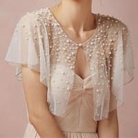 Wholesale wedding formal bolero for sale - Group buy Bridal Luxury Pearls Tulle Wedding Bolero Women Wedding Wraps Formal Short Bridal Jacket Top Wedding Accessories