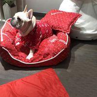 tiro de la pata del gato al por mayor-Big Dog Caseta de Perro del Schnauzer del perrito de la caseta de perro de invierno desmontable y lavable caliente marca de moda para mascotas de la perrera Con BlanketFree envío