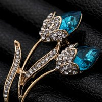 Wholesale flower brooches resale online - Fashion Elegant Plant Brooch Bouquet of Flowers Tulip and Diamond Brooch Rhinestone Crystal Brooches for Women