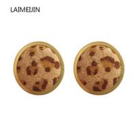 kuhknöpfe großhandel-Neue Koreanische Trendy Leopard Kuh Samt Runde Kreis Ohrringe Für Frauen Einfache Taste Ohrstecker Geometrische Fashion Party Schmuck