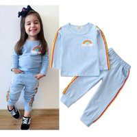 Wholesale girls clothes for sale - Group buy Kids Clothing Sets Autumn Baby Clothes Rainbow Print Stripe Tops Rainbow Striped Pants set Girls Outfits Fashion Children Suits M297