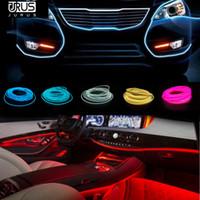 esnek düz şerit ışıklar toptan satış-JURUS 2018 Yeni 2 adet 1 m / 2 m / 3 metre Esnek Neon Işıklar Glow El Tel 12 V Düz Oto Led Şerit Araba Işık Araba-styling Ücretsiz Kargo