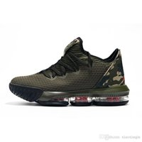 a393c114f59 Cheap mens lebron 16 low basketball shoes for sale Army Green Black Gold  Tan Bred youth kids new lebrons sneakers tennis with box Size 7 12