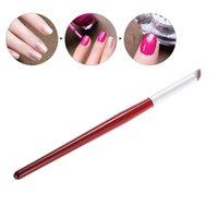 boyama fırçası toptan satış-Açılı Fırça Kalem Akrilik UV Jel Lehçe Kademeli Blooming İpuçları Ahşap Fırçalar Araçları RRA1485 Kulp Boyama Tırnak Sanat Boya Çizim