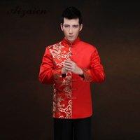 dragão vermelho cheongsam venda por atacado-Red Long Sleeve noivo brinde roupas vestido chinês Dragão Homens cetim Cheongsam Top Costume Tang terno do casamento vestido tradicional