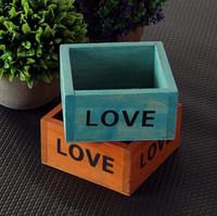 bitki kutusu tasarımları toptan satış-Kısa Tasarım Bahçe Pot İngilizce Mektup Moda Ahşap Yetiştiricilerinin Çevre Dostu Etli Bitkiler Saklama Kutusu Yüksek Kalite SN2936