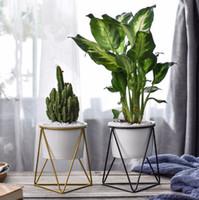 einfache keramik großhandel-Nordic fleischigen Blumentöpfe Schmiedeeisen Vase einfachen Eisenrahmen Blumenständer Keramik Wasserkultur Blumentopf grün Pflanzer Set