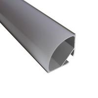 cubierta de perfil de tira de led al por mayor-3.3 pies / 1 metro 30 * 30 m en forma de V más ancho canal de perfiles de aluminio led suspendido para tira de led de doble fila, cubierta de leche para pcb de 20 mm con accesorios