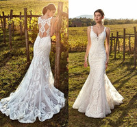 Wholesale lace romantic sexy wedding dresses resale online - 2019 Romantic Lace Mermaid Wedding Dresses Country Garden Plus Size Boho Weddings Sexy Sheer Backless Appliques Long Bridal Vestidos Gowns