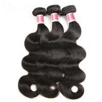 ingrosso i fornitori di tessuti dei capelli umani-Estensioni brasiliane dell'onda del corpo dei capelli del tessuto dei capelli umani di 100% di 8-30 pollici di colore naturale Non Remy Hair