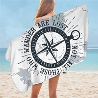 Wholesale nautical compasses resale online - Compass Bath Towel Nautical Map Beach Towel Navy Blue and White Yoga Mat for Adults and Boys Cool Towel cmx150cm