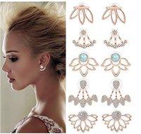 ingrosso giacche da fiore donna-Gioielli da donna Lotus Flower Back Hanging Orecchini Giacche per le donne Ragazze Simple Chic Ear Stud Earrings