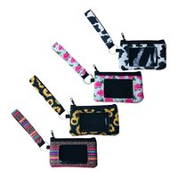 Wholesale leopard print wallets resale online - Sunflower Leopard Cow Flower printed MultiFunction Neoprene Passport Cover ID Card Holder Wristlets Clutch Coin Wallet with keychain