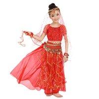 traje indiano crianças venda por atacado-2018 novo estilo crianças trajes de dança do ventre trajes de dança oriental dança do ventre roupas trajes indianos 5 pcs para crianças