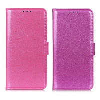 ingrosso caso di flip oneplus-Custodia a portafoglio con glitter rosa per OnePlus 7 PRO 5G Cover Flip Cover per OnePlus 7 Custodia protettiva in pelle per telefono con tasca per carte