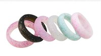 bandas flexibles al por mayor-Joyería de las mujeres Anillos de Boda de Silicona 5.5mm Brillo de Silicona Anillo de Banda Flexible Color Mezclado Tamaño Boda Entusiasta de los deportes