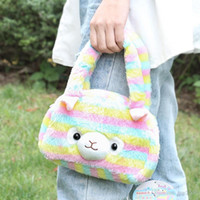 bolso de peluche para niños al por mayor-Baby rainbow Alpaca Handbags Kids Plush Bag Toy cartoon cute children Alpacasso bag girls plush toy bag